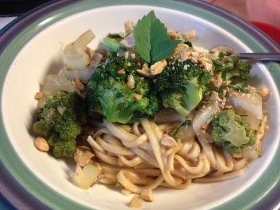 peanut noodle stir fry finish