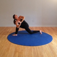 "Healthy twist with hips ""square"" - stable base, long spine, open heart"